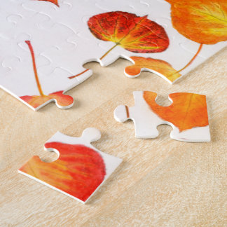 Glorious Fall Colors Aspen Leaf Pattern Jigsaw Puzzle