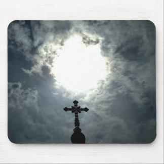 Glorious Gothic cross with sun break mousepad