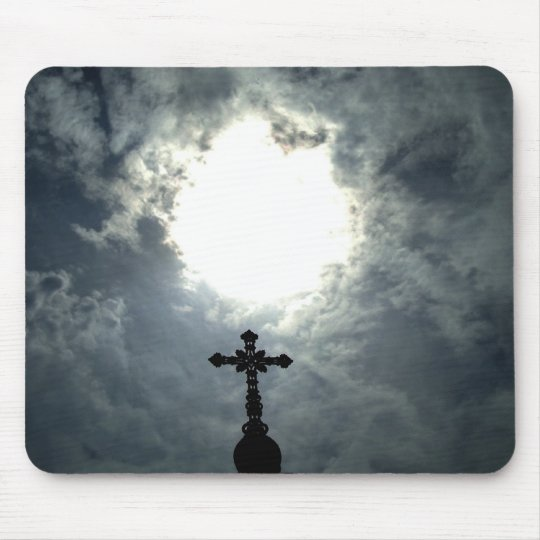 Glorious Gothic cross with sun break mousepad