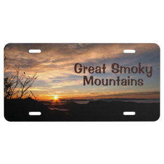 Glorious Great Smoky Mountains sunrise License Plate