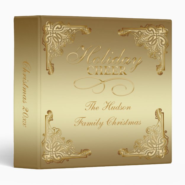 Glorious Ornate Gold on Gold Monogram Christmas | 3 Ring Binder