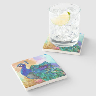 Glorious Peacock Alcohol Ink Stone Coaster