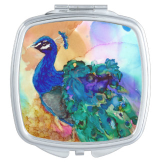 Glorious Peacock Compact Mirror