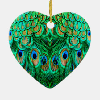 Glorious Peacock Feathers Ceramic Ornament