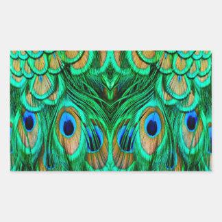 Glorious Peacock Feathers Rectangular Sticker