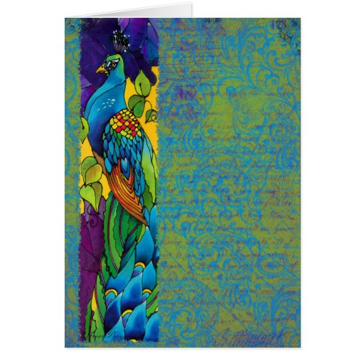 Glorious Peacock Silk Painting Cards