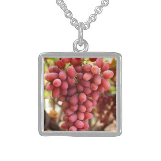 Glorious Red Hanging Grapes Silver Necklace