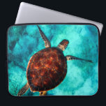 "Glorious Sea Turtle Laptop Sleeve<br><div class=""desc"">Glorious sea turtle in vivid colors of brown against a crystal clear blue sea.</div>"