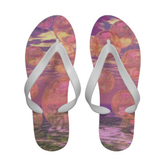 Glorious Skies, Pink and Yellow Dream Abstract Flip Flops
