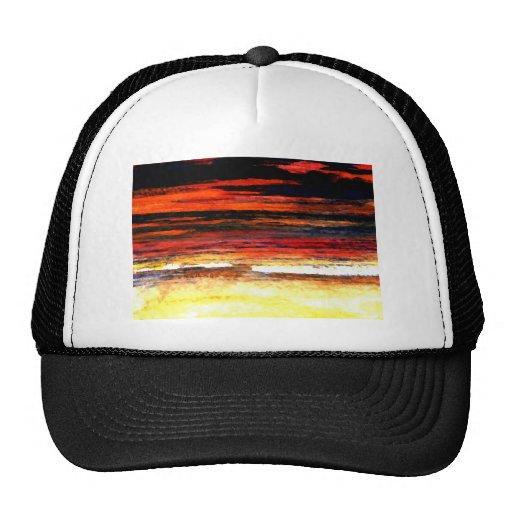 Glorious Sunset Colors Ocean Art Beach Painting Hats