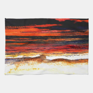 Glorious Sunset Colors Ocean Art Beach Painting Hand Towels