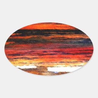 Glorious Sunset Colors Ocean Art Beach Painting Oval Sticker