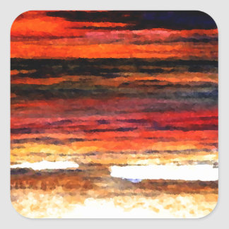 Glorious Sunset Colors Ocean Art Beach Painting Square Sticker
