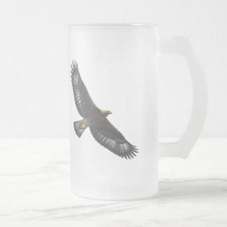 Glorius Golden Eagle Soaring 16 Oz Frosted Glass Beer Mug