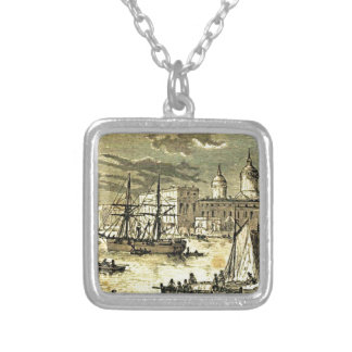 Glory Days of Sail Ships Dock Illustration Necklaces