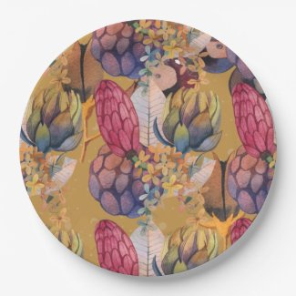 Glory of Autumn Floral Paper Plate