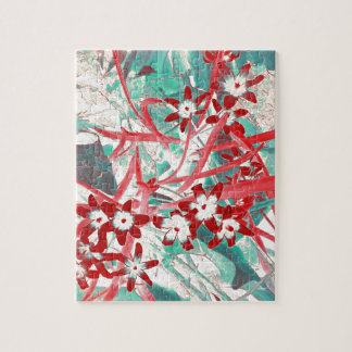 Glory of the Snow - Red and Turquoise Jigsaw Puzzles