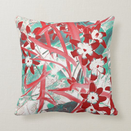 Glory of the Snow Red and Turquoise Throw Pillow