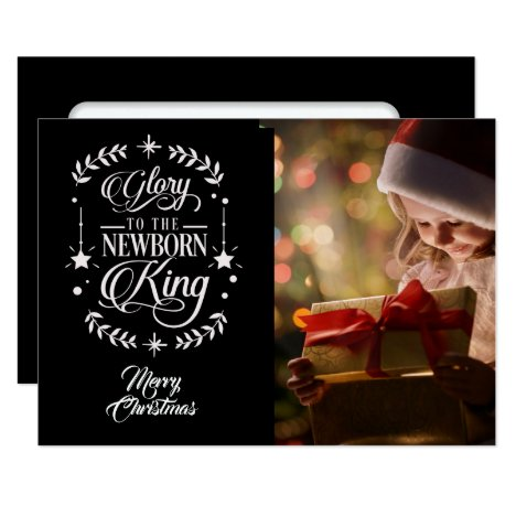 Glory To /Christmas Quote/2-Sided Card / Black