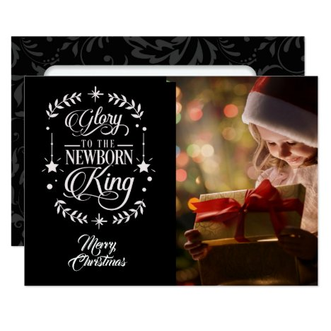 Glory To /Christmas Saying/2-Sided Photo  /Black Card