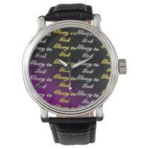 Glory to God Pattern Purple Watch