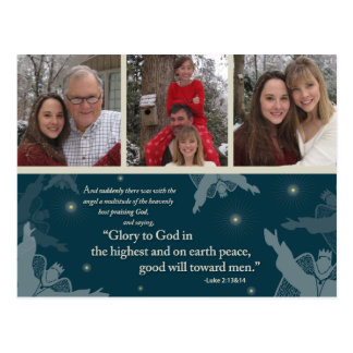 Glory to God Postcard 3 family photos (teal)