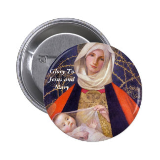 Glory To Jesus and Mary 2 Inch Round Button