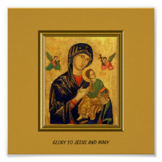 GLORY TO JESUS AND MARY POSTER