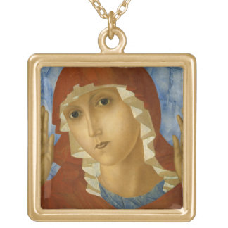 GLORY TO THE BLESSED VIRGIN MARY SQUARE PENDANT NECKLACE