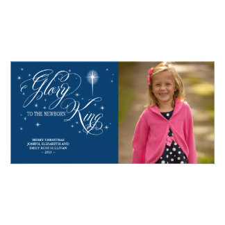 Glory to the Newborn King Christmas Personalized Photo Card