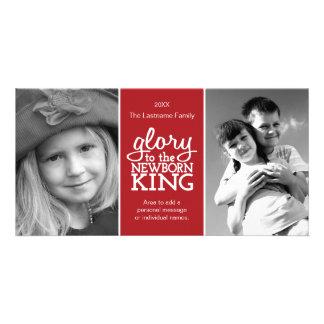 Glory to the Newborn King Red White Photo Card