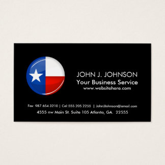 Glossing Round Texas Flag Business Card