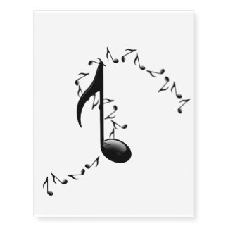 Glossy 3D Music Notes Temporary Tattoo