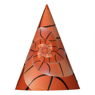 Glossy Basketball Spiral Droste Party Hat
