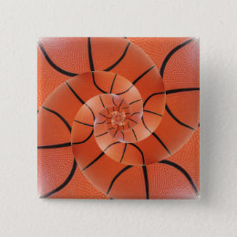 Glossy Basketball Spiral Droste Square Button