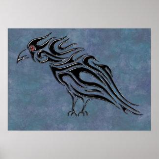 Glossy Black Raven Tattoo Poster