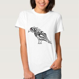 Glossy Black Raven Tattoo T Shirts