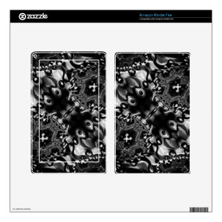 Glossy Blk&White Fractal Decals For Kindle Fire