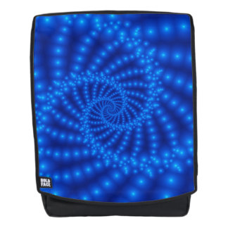 Glossy Blue Beaded Spiral Fractal Backpack