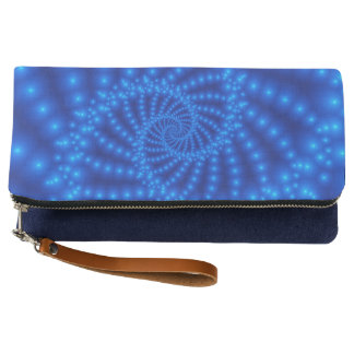 Glossy Blue Beaded Spiral Fractal Clutch