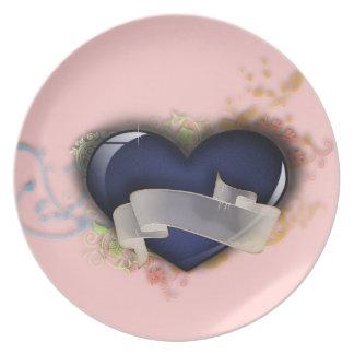 Glossy Blue Heart Plate