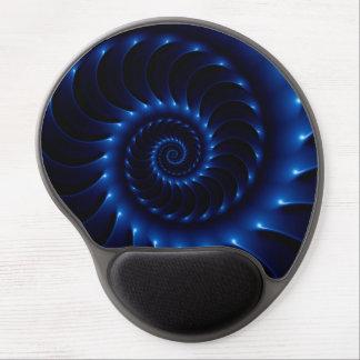Glossy Blue Spiral Fractal Gel Mousepad