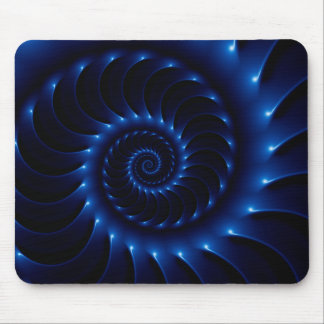 Glossy Blue Spiral Fractal Mousepad