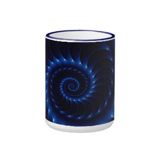 Glossy Blue Spiral Fractal Mug