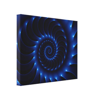 Glossy Blue Spiral Fractal Wrapped Canvas Canvas Print