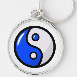 Glossy Blue Yin Yang in Balance Keychain
