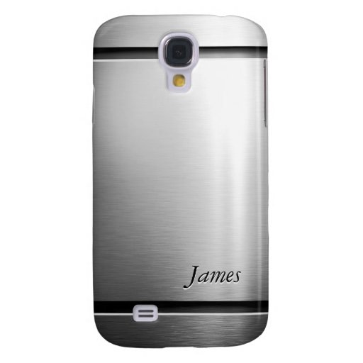 Glossy Brushed Metal Stainless Steel Look Galaxy S4 Cover