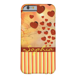 Glossy Candy Red Orange Heart Tree Flourish Yellow Barely There iPhone 6 Case