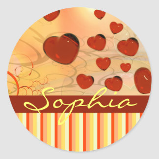 Glossy Candy Red Orange Heart Tree Flourish Yellow Classic Round Sticker
