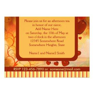 Glossy Candy Red Orange Heart Tree Flourish Yellow Custom Invitations
